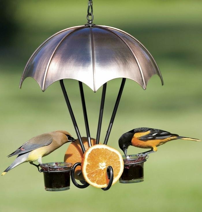 kreatives Vogelhäuschen, Regenschirm aus Blech, zwei Becher, voll mit Marmelade, zwei Orangenscheiben, zwei Vögelchen
