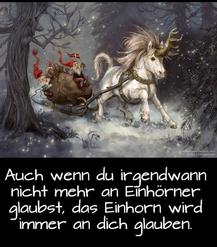 ein weißes einhorn mit einer langen dichten mähne und einem langen horn, wald mit bäumen und schnee, ein bild mit einem spruch einhorn - einhorn sprüche und lustige einhorn bilder
