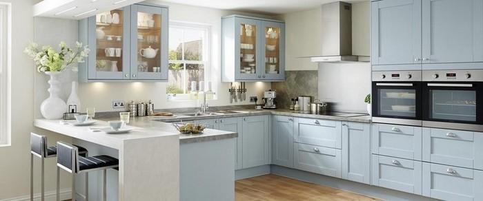 weiße küche graue arbeitsplatte blaue möbel ideen für eine moderne küche