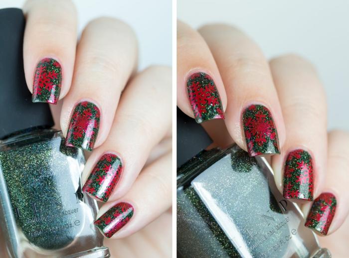 Coole Idee für Winternägel, rote Schneeflocken auf grünem Grund, dunkelgrüner Glitzer-Nagellack
