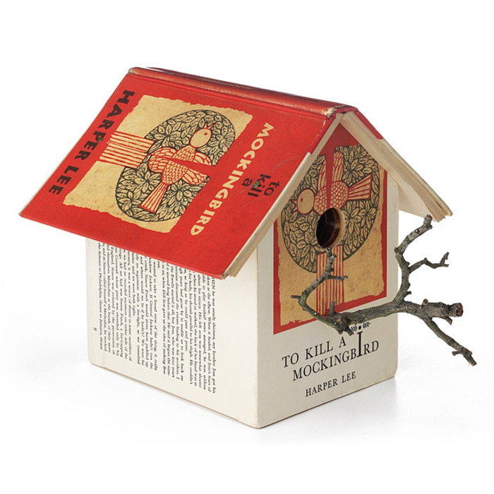 """Kreative Deko Idee, Vogelhaus aus Büchern """"Wer die Nachtigall stört"""", Deko Vogelhäuschen"""