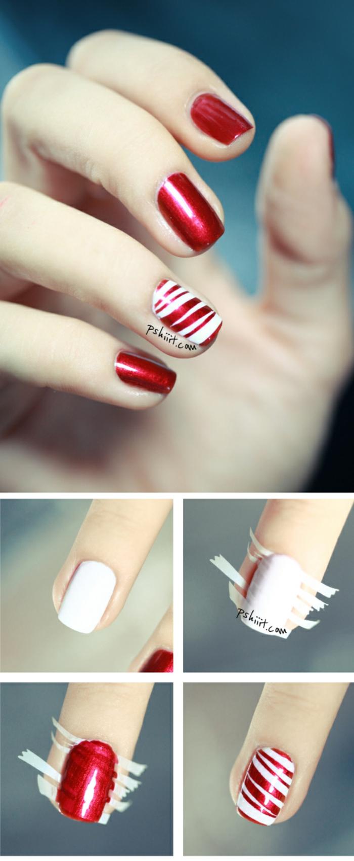 Coole Idee für winterliche Maniküre mit Klebeband, weiße und rote Linien, ovale Nagelform