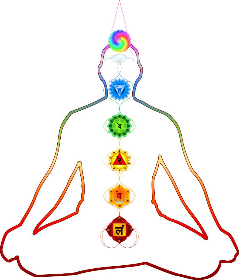 Yoga für Anfänger, die Yogi Chakren, Wurzelchakra Muladhara, Sakralchakra Svadhishthana, Nabelchakra Manipura, Herzchakra Anahata, Halschakra Vishuddha, Stirnchakra Ajna, Kronenchakra Sahasrara
