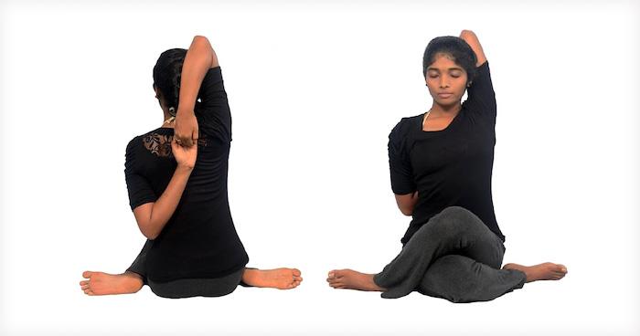 Gomukhasana Yoga-Stellung, die das Kuhgesicht ähnelt, Beine kreuzen, Arme hinter dem Rücken stellen, Rücken gerade halten, geschlossene Augen
