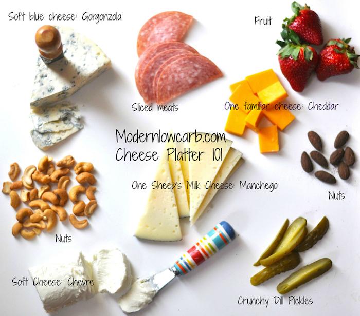 Käseplatte zusammenstellen: weicher Käse und geschnittene Fleischprodukte, Schmierkäse mit Obst kombinieren, Blauschimmelkäse mit Nüssen, Cheddar und Schafkäse mit Essiggurken