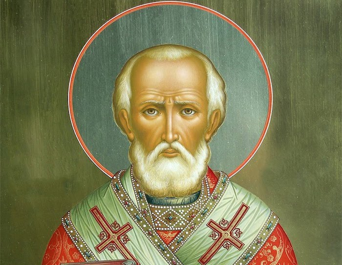 eine Ikone von Nikolaus der Bischof von Myra, Region in der heutigen Türkei, olivengrüner Hintergrund