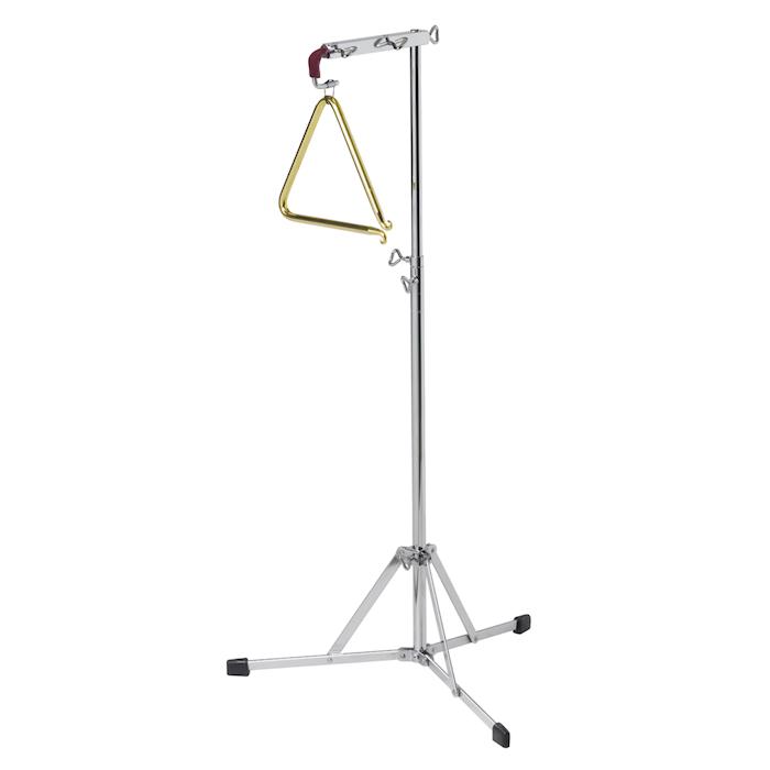 Triangelständer aus Stahl mit drei Beinen jeweils mit einem Plastikpfropfen, Mechanismus zur Regulierung der Höhe des Ständers, Triangel aus Stahl mit Überzug in Goldfarbe