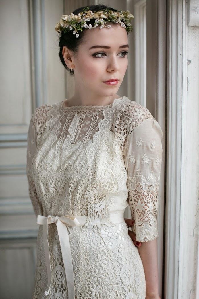 brautkleid spitze, braut make-up, hochzeitskleid im vintage stil