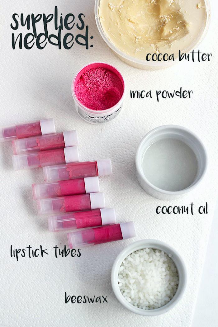 lippenstift selber machen, lippenstifte aus bienenwachs, kokosöl und kakaobutter