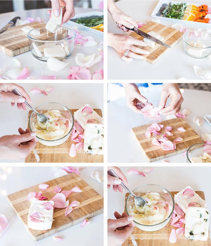 kokosöl kosmetik selber machen, seifen mit rosenöl und rosenblättern selbst herstellen
