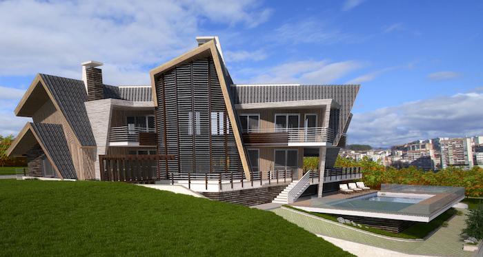 großes Mehrfamilienhaus aus Holzpaneelen am Stadtrand, gemeinsames Wohnen