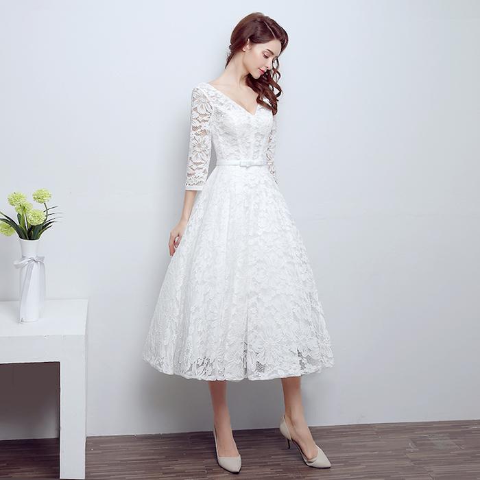 brautkleider mit spitze, mittellanges hochzeitskleid in a linie, vintage kleider