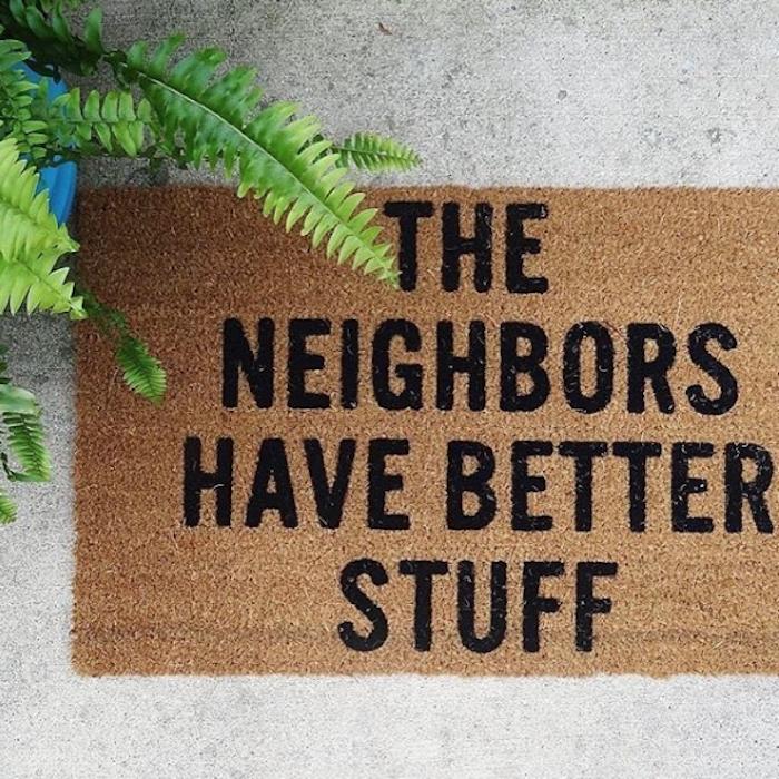 lustiges Einzugsgeschenk - Füßmatte für Eingangstür mit lustigem Spruch mit schwarzen Buchstaben auf einem hellen Boden, grüne palmenähnliche Pflanze mit gespitzten Blättern in einem blauen Topf
