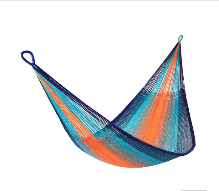 Hängematte für zwei mit Streifen in drei unterschiedlichen Farben, Hängematte mit Streifen in oranger und blauer Farbe