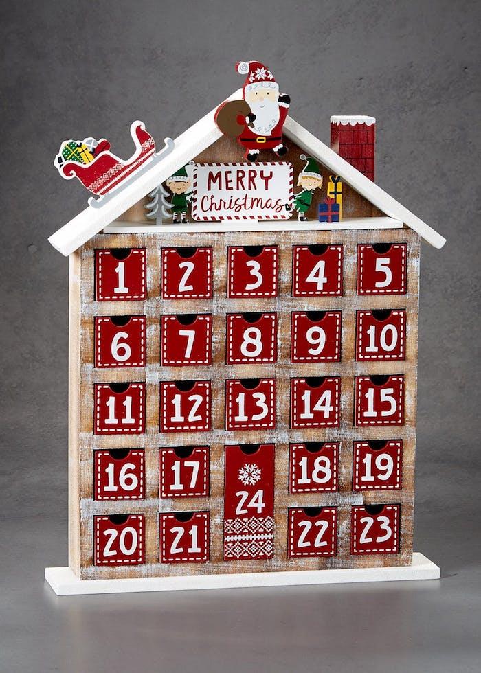 ein Häuschen mit 24 Schubladen voller kleine Geschenke zu Weihnachten - Adventskalender für Freund