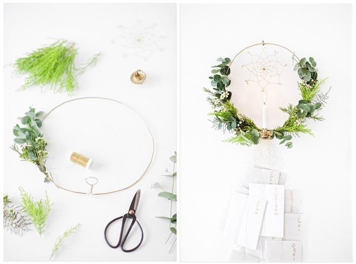 eine schere und eine anleitung zum thema adventskranz selber basteln - eine lange weiße kerze und grüne pflanzen und ein traumfänger