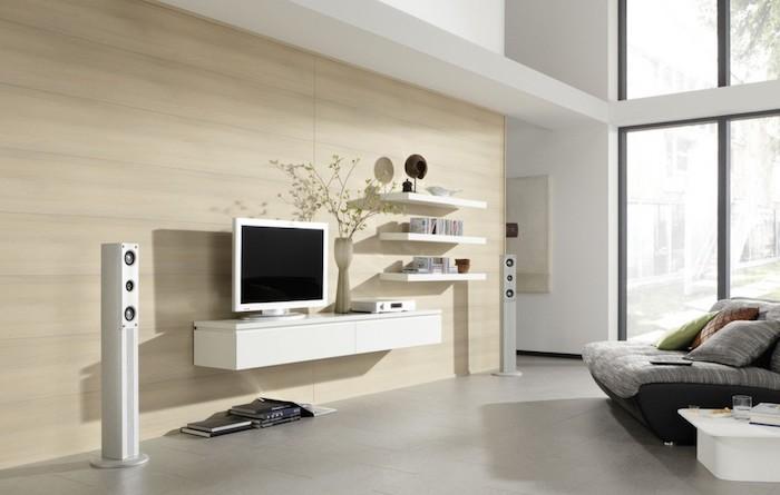wohnwand gestaltung ideen zum einrichten wohnzimmer einrichtung beige wand weiße deko weiße technologien fernseher regale musik ausstattung