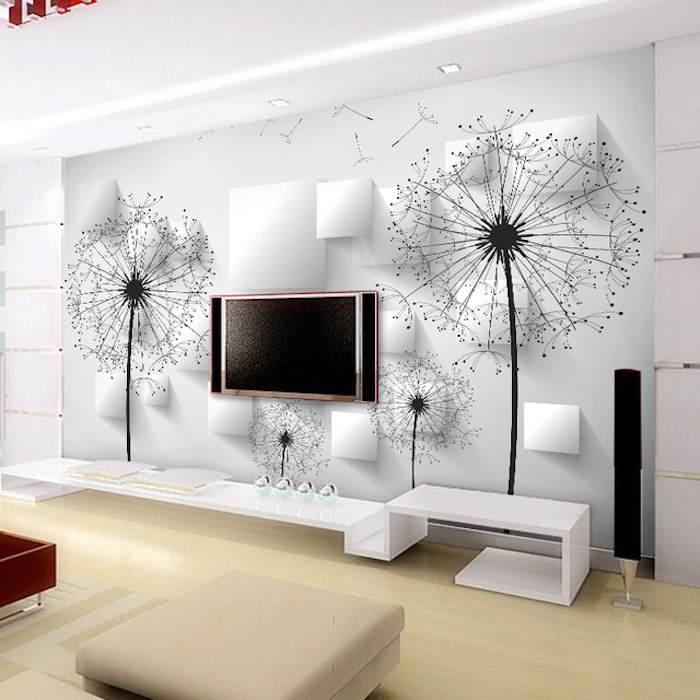 fernsehwand dekorative ideen mit sticker fernseher hintergrund mit löwenzähne schwarz weiße wand blumenmotive hocker gelber boden