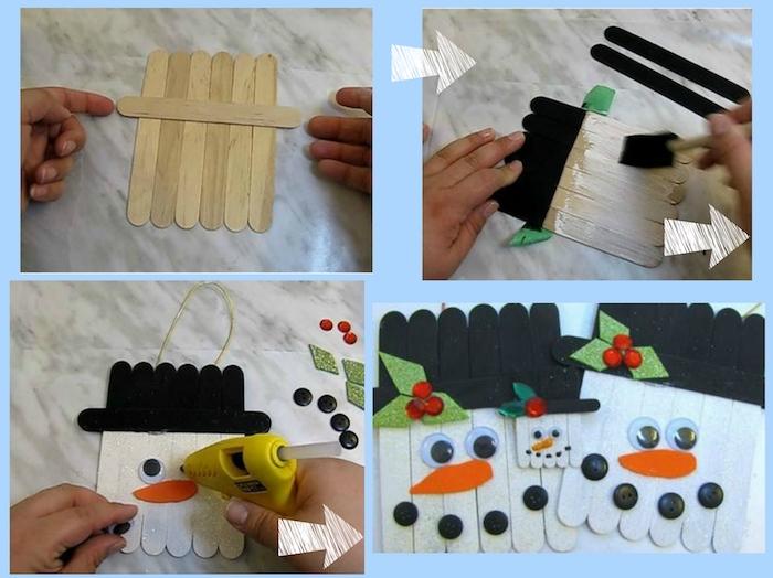 anleitung schneemann aus holz basteln - schneemann mit einer orangen nase und schwarzen knöpfen und einem schwarzen hut
