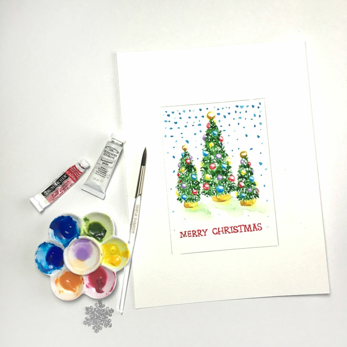 Aquarell Weihnachtskarte selbst gestalten, Weihnachtsbäume und Schneeflocken aufzeichnen