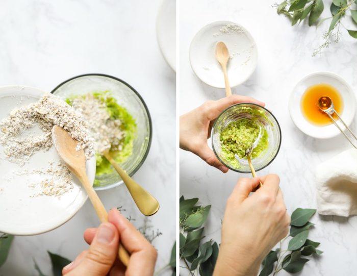 avocado gesichtsmaske mit honig, haut richtig pflegen, naturprodukten