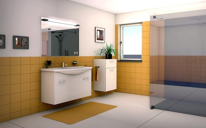 Badezimmer mit gelben Fliesen - Badmöbel-Set
