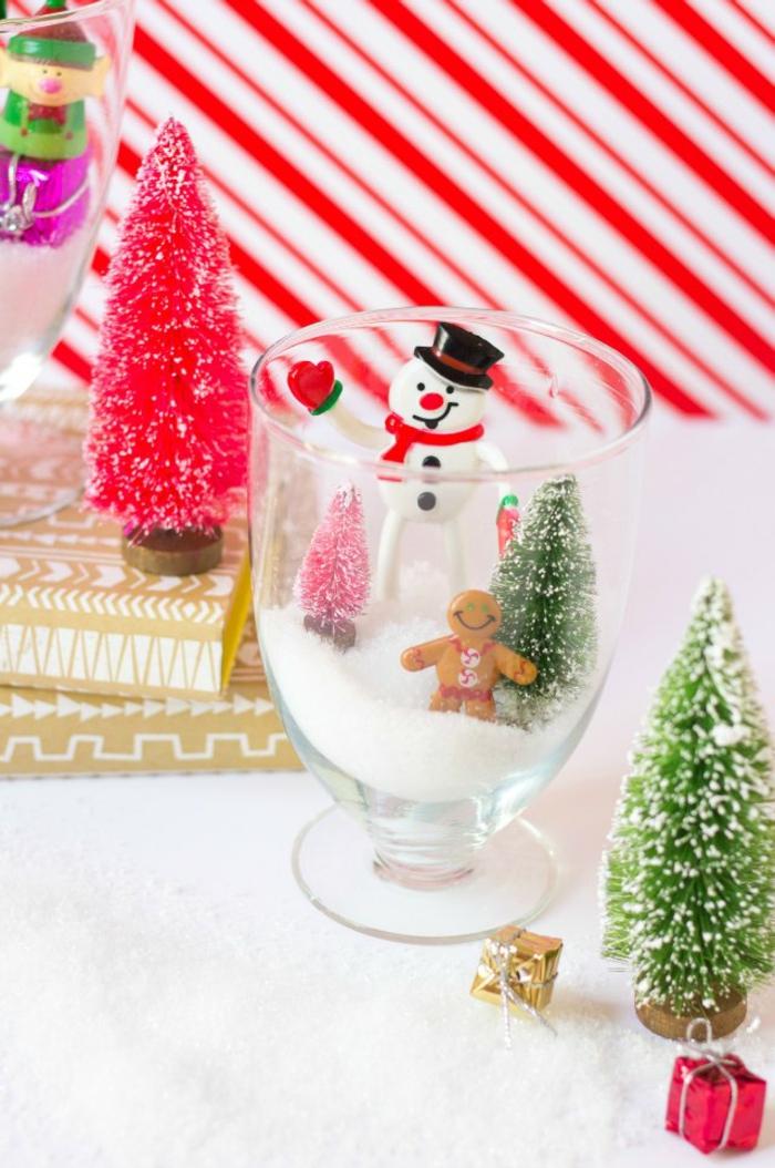 Schneekugel aus Glas einfach selber machen, mit künstlichem Schnee und kleinen Figuren füllen