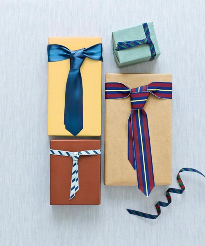 Geschenkverpackungen mit Krawatten verzieren, Geschenkideen für Männer zu Weihnachten