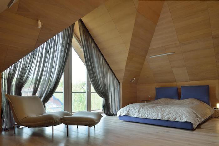 Kleine Wohnung Einrichten Schlafzimmer Gestaltung Vorhänge In Grau Schützen  Vor Dem Direkten Sonnenlicht Am Morgen Liegesessel