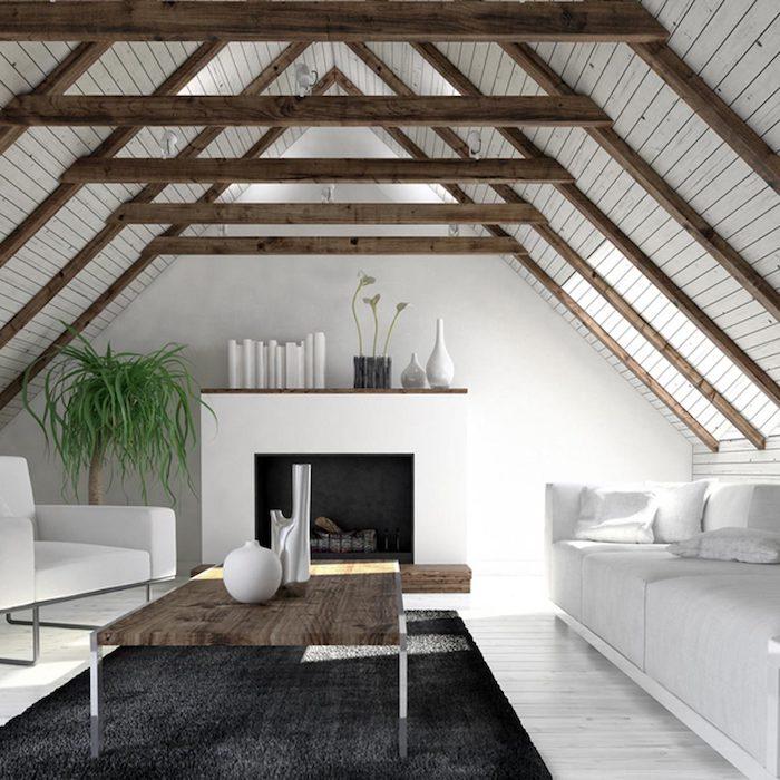 wohnung gestalten skandinavischer stil einrichtungsideen grauer teppich weiße vasen deko ideen weißes sofa