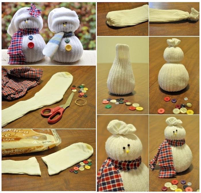 anleiting schneemann aus socken basteln - weiße socken und ein weißer schneemann mit schal und bunten knöpfen