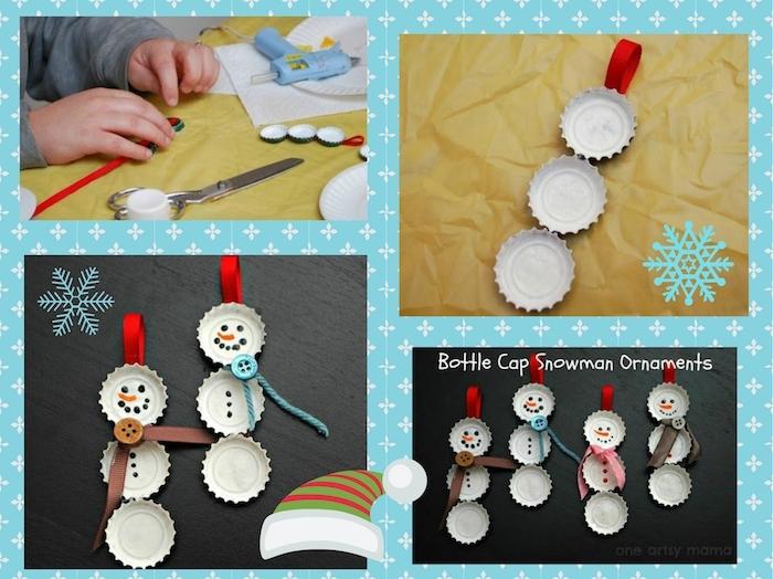 einfache anleitung - basteln schneemann - weiße schneemänner mit schwarzen augen und braunen und blauen knöpfen und schalen