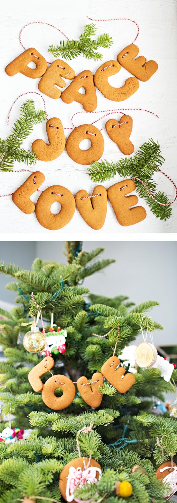Gilrande aus Keksen und Tannenzweigen selber basteln, tolle Idee für Weihnachtsdekoration