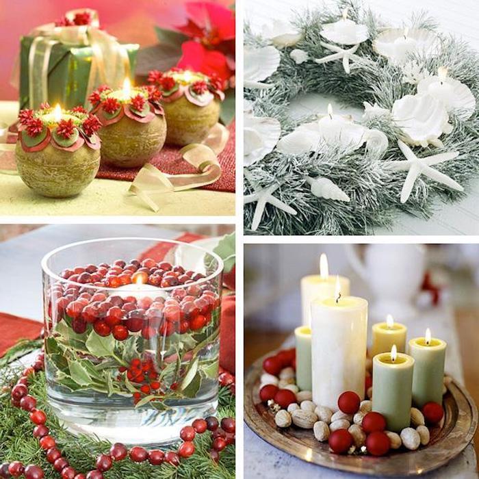 weihnachtsdeko weihnachtskranz kerzen tablett mit verschiedenen größen von kerzen grüne blätter rote kleine elemente an der deko