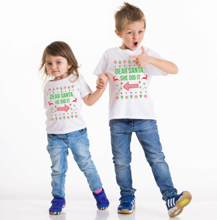 T-Shirt selbst gestalten, coole Idee für Weihnachtsgeschenk, mit Schablone beschriften, Geschenkidee für Geschwister