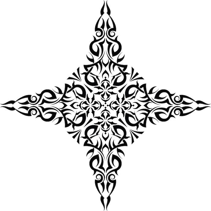 moderne schwarze tätowierung mit einem großen schwarzen stern - stern tattoo bedeutung