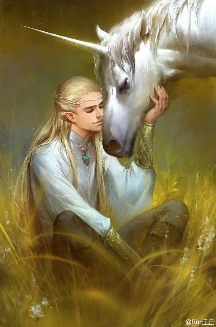 fantasy einhorn bilder - ein eilf und ein weißes einhorn mit schwarzen augen und einem langen horn