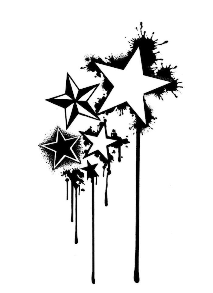 idee für eine schwarze tätowierung - ein großer weißer stern und kleine schwarze sterne