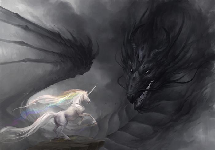 fantasy einhorn bilder - ein schwarzer drache mit schwarzen flügeln und ein weißes einhorn mit einer regenbogenfarbenen dichten mähne