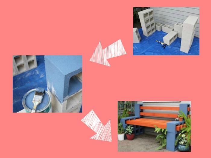 gartenbank selber bauen - anleitung in drei schritten - eine gartenbank aus holz und blauen pflanzsteinen