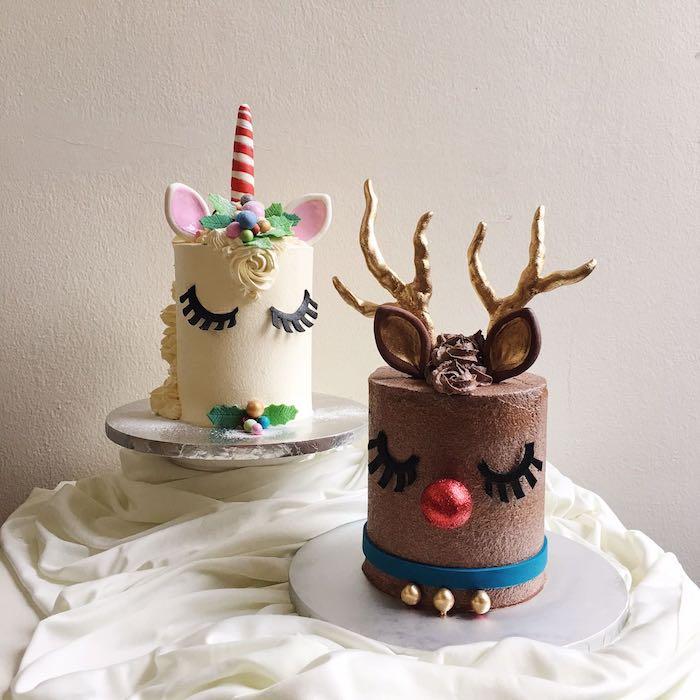 eine braune schokolade torte mit einem hirsch und eine weiße einhorn torte mit einem langen pinken horn und mit einer kleinen weißen rose