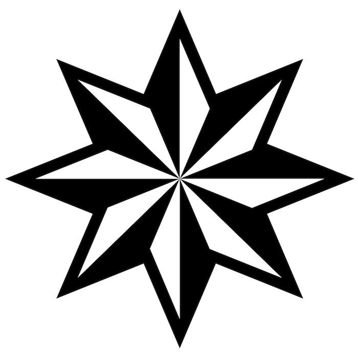 tolle idee für einen großen schwarzen tattoo mit einem großen schwarzen stern