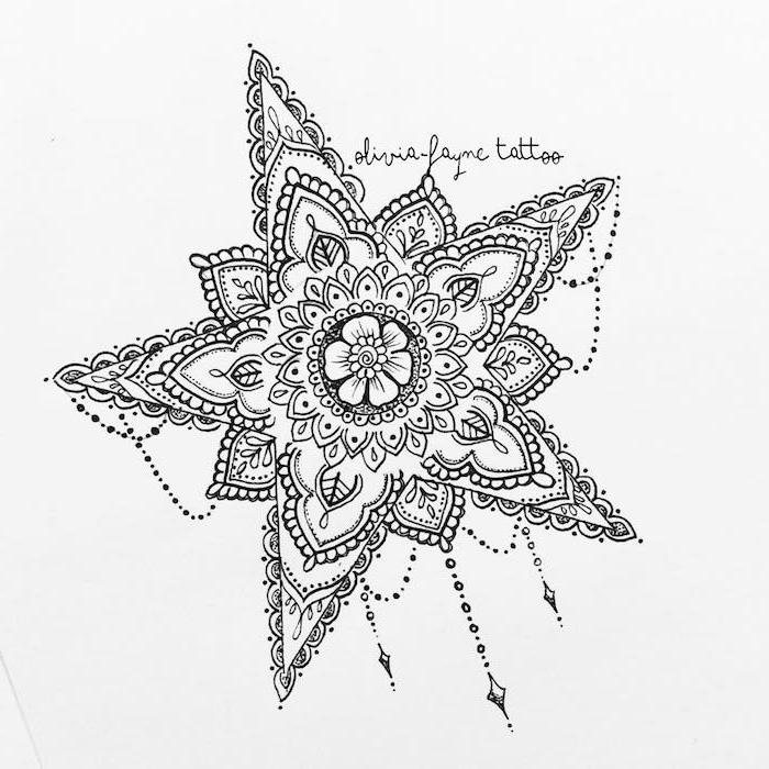 ein großer weißer stern und weiße blume mit weißen blättern - idee für einen stern tattoo