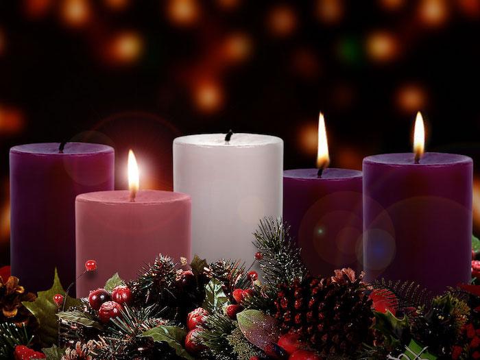 drei lila kerzen, eine weiße kerze und eine pinke kerze - ein adventskranz mit braunen zapfen, roten früchten und grünen blättern