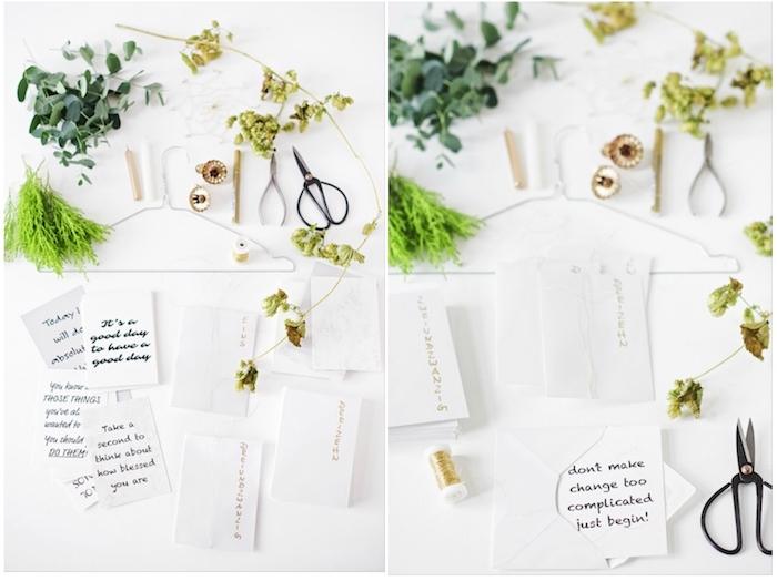 eine schritt-für-schritt anleitung - adventskranz selber basteln - schere, papier und pflanzen mit grünen blättern