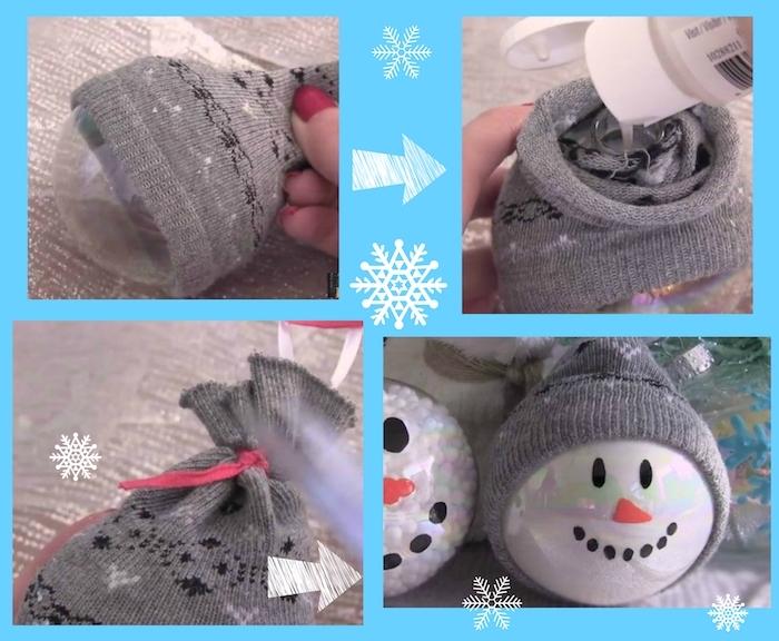kleiner weißer schneemann mit schwarzen augen - eine diy anleitung - schneemann aus sochen basteln