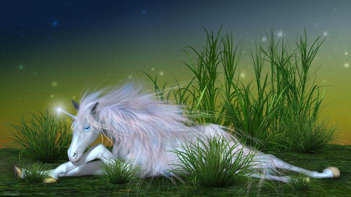 weißes einhorn mit blauen augen und einer langen pinken mähne - himmel mit sternen