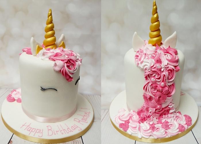 hier ist eine idee für einhorn torte mit einem weißen einhorn mit einer langen mähne aus einer pinken sahne und mit einem goldenen gelgen horn - idee für einhorn kuchen deko