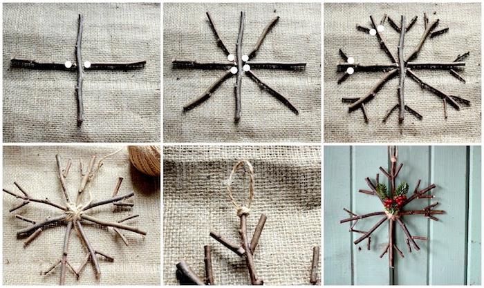 Bastelideen Winter - eine Schneeflocke aus kleinen dünnen Stöcken und Sackleinen