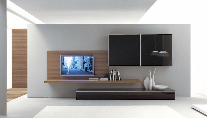 anbauwand weiße dekorationen fernseher schwarzer schrank schrankdeko ideen einrichtung